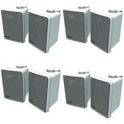 Kicker 11KB6000W White Outdoor Speaker Bundle - 8 Speakers