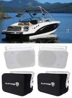 "2 Rockville HP65S-8 6.5"" Marine Box Speakers w/Swivel Bracke"