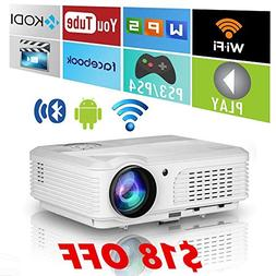 2018 HD Bluetooth Wireless Video HDMI Projector with Wifi,LE