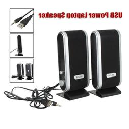 2PC USB Power Computer Speakers Stereo 3.5mm with Ear Jack F