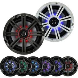 "2- Pair  With Multi Color LED Lights Kicker 6.5"" 195W Marine"