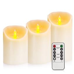"""Flameless Candles 4"""" 5"""" 6"""" Set of 3 Ivory Dripless Real Wax"""