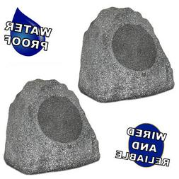 "Theater Solutions 2R8G Outdoor Granite 8"" Rock 2 Speaker Set"