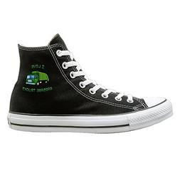 SH-rong Green I Love Garbage Trucks High Top Sneakers Canvas