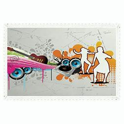 Grunge,Rectangle Polyester Linen Tablecloth/Music People wit