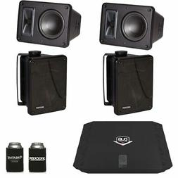 Kicker KB6000 Black Outdoor Speakers  with Dub 480 Watt Ampl