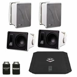 Kicker KB6000 White Outdoor Speakers  with Dub 480 Watt Ampl