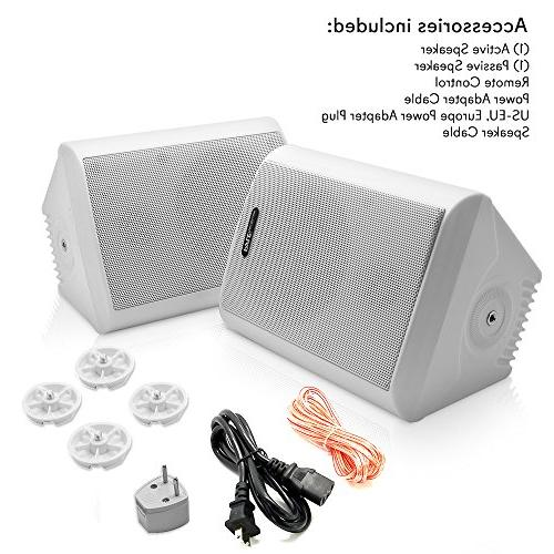 Dual Wall Speakers - 4 Inch 200 Watt 2-Way Indoor Outdoor Speaker System - a Cabinet