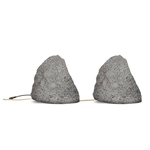 Theater Solutions Powered Bluetooth Outdoor Granite Grey Rock Dual Connection Options