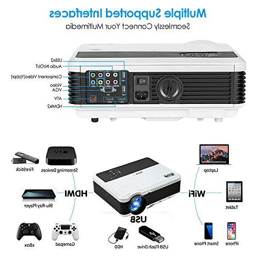 Wireless Projector 1080P Home Smart 6.0 LCD LED 3900 Proyector USB TV PS4 Wii