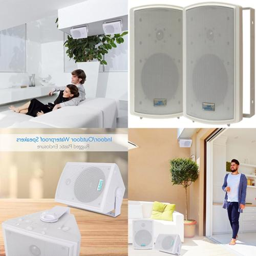 Dual Waterproof System - Inch Pair of or Mounted Speakers w/Heavy Universal Use Patio or Indoor - Pyle