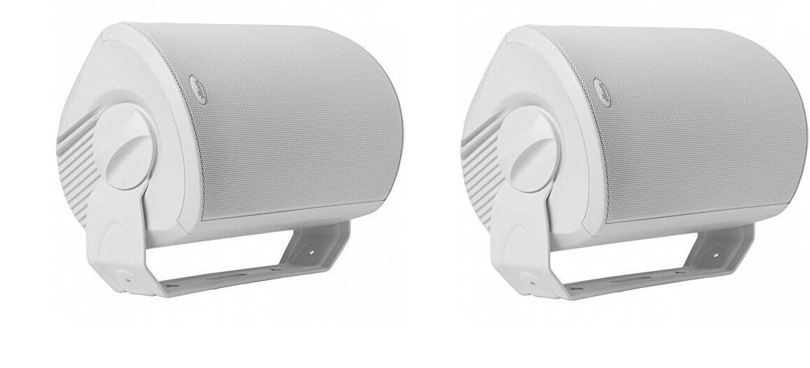 pair outdoor speakers powerful bass wall mount
