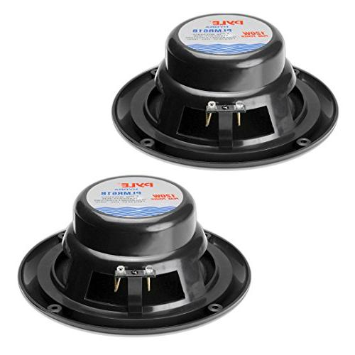 6.5 Marine Speakers 2 Waterproof Weather Outdoor Stereo Sound System with Power, Polypropylene Cloth Surround Pair