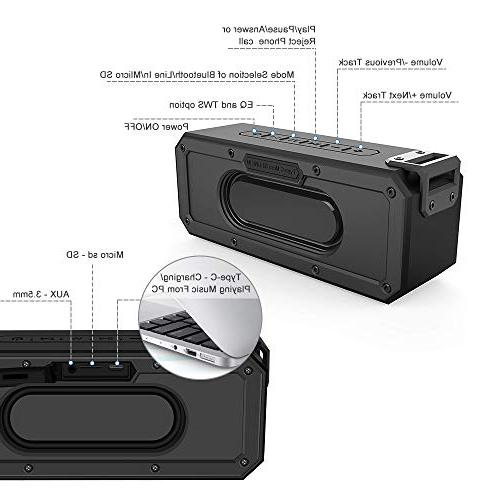 SINOBAND IPX7 Shockproof Portable Best Bluetooth Bluetooth and Other Bluetooth-Capable