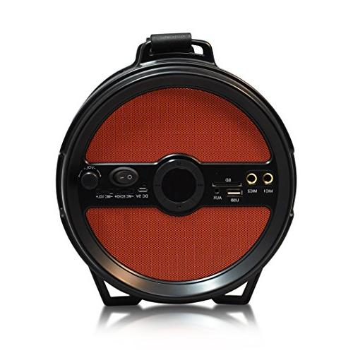 """AXESS 2.1 Cylinder Loud Speaker with Built-In 6"""" Sub SD Card, AUX, 2 Microphone Inputs Red"""