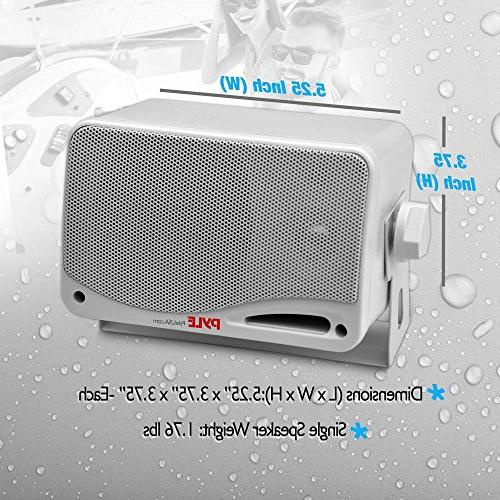 Outdoor Bluetooth Pair 3-way Weatherproof Wall, Dual Speakers System w/ Heavy Duty Grill, Indoor Pyle PDWR42WBT