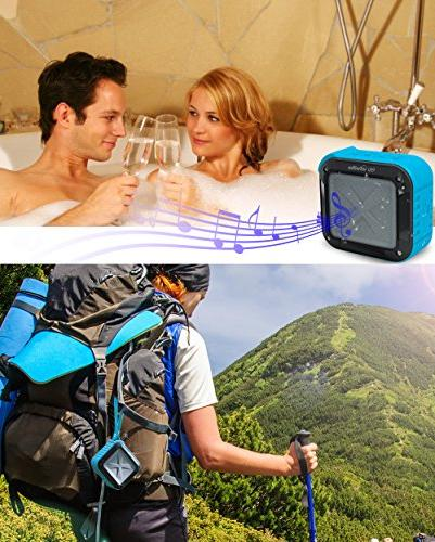 Infinilla Waterproof Speakers, Portable Wireless Speaker Outdoor, Shower, with FM Radio, NFC SD Card Slot Blue