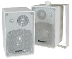 NEW Outdoor Indoor Speakers.Pair.White.w/ wall mounts.Home A
