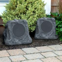 Outdoor Rock Speakers Pair Bluetooth USB Wireless Backyard O