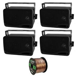 4 x New Pyle PLMR24 3.5'' 200 Watt 3-Way Weather Proof Marin