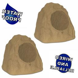 """Theater Solutions Brown Outdoor Rock 2 Speaker Set with 8"""" W"""