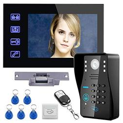 "Touch Key 7"" Lcd RFID Password Video Door Phone Intercom Sys"