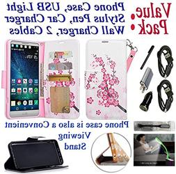 "Value Pack Cables + for 5.7"" LG V 20 v20 Case Wallet Phone C"